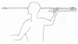 drawing of man holding an atl-alt and dart