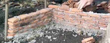 Construction of clay wall using lime cement